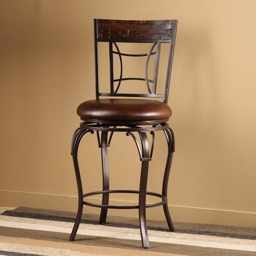 Hillsdale Granada Swivel Bar Stool w/ Upholstered Seat