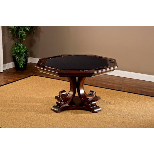 Hillsdale Harding Game Table with Eight Sides and Cup Holders