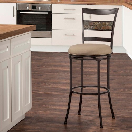 Hillsdale Indoor/Outdoor Stools Swivel Counter Stool with Ladderback