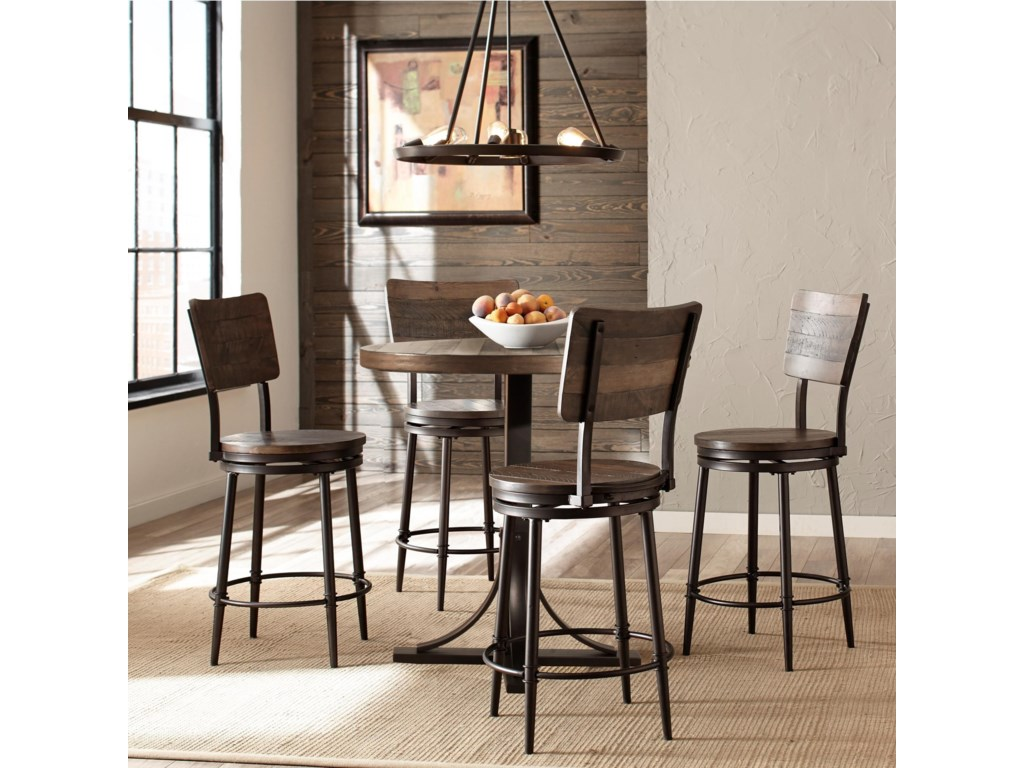 Hillsdale Jennings Rustic 5 Piece Counter Height Dining Set With Swivel Stools Conlin S Furniture Pub Table And Stool Sets