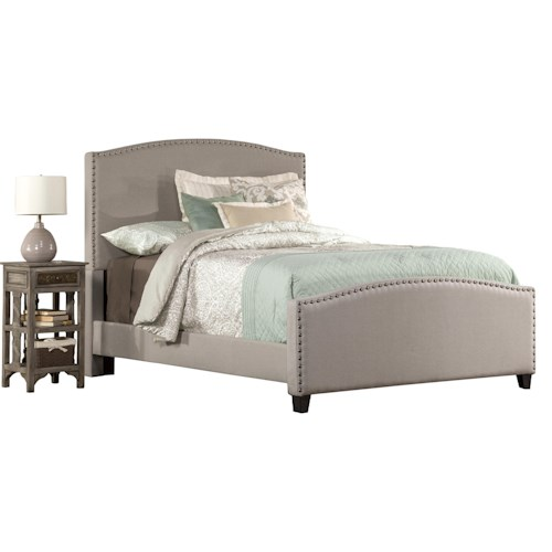 Hillsdale Kerstein Queen Bed Set with Rails Included and Nail-head Trim