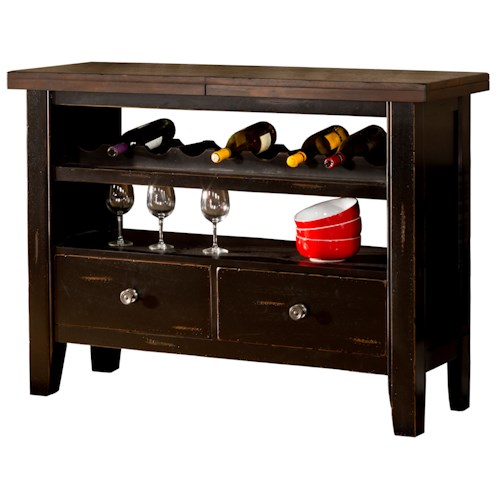 Hillsdale Killarney Server with Open Shelf Wine Bottle Storage and Two Drawers
