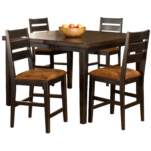 Hillsdale Killarney 5 Piece Counter Height Table & Ladder Back Stool Set