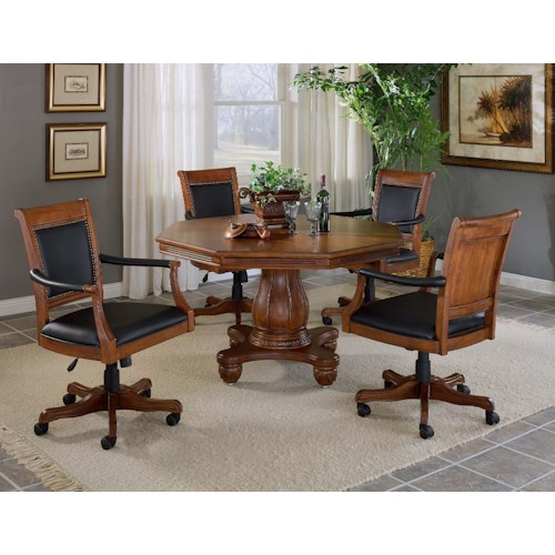Hillsdale Kingston Five Piece Game Table Set with Leather Chairs