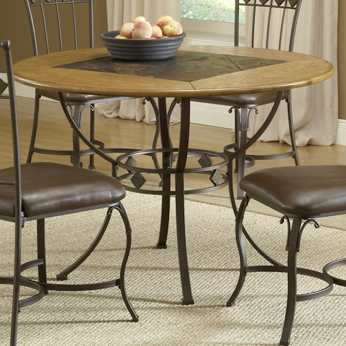 Hillsdale Lakeview Round Wood Stone Top Dining Table Westrich - Stone top rectangular dining table