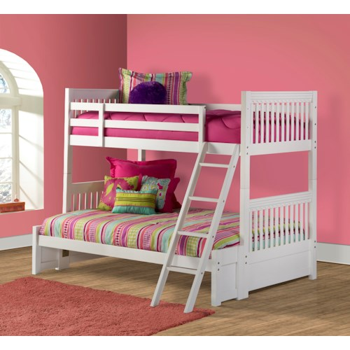 Hillsdale Lauren  Twin over Full Bunk Bed with White Finish