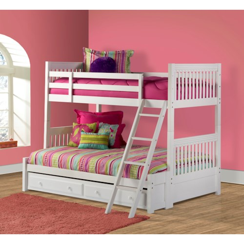 Hillsdale Lauren  Twin over Full Bunk Bed with Storage Drawer