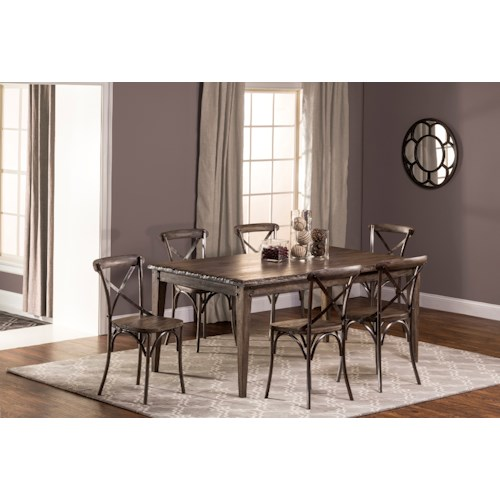 Hillsdale Lorient 7-Piece Rectangle Dining Set with X Back Dining Chair