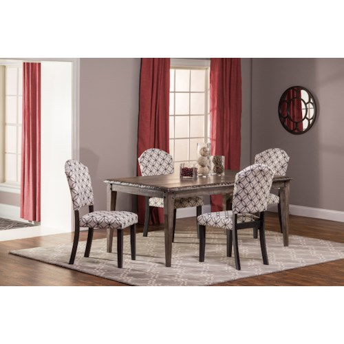 Hillsdale Lorient 5-Piece Rectangle Dining Set with Parsons Dining Chair