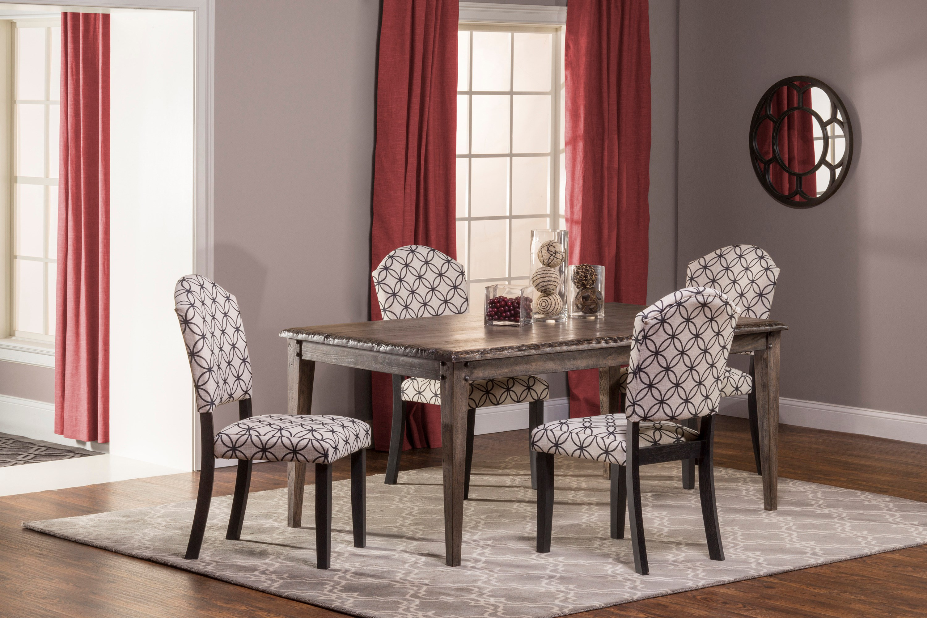 Hillsdale Lorient 5 Piece Rectangle Dining Set With Parsons Dining Chair