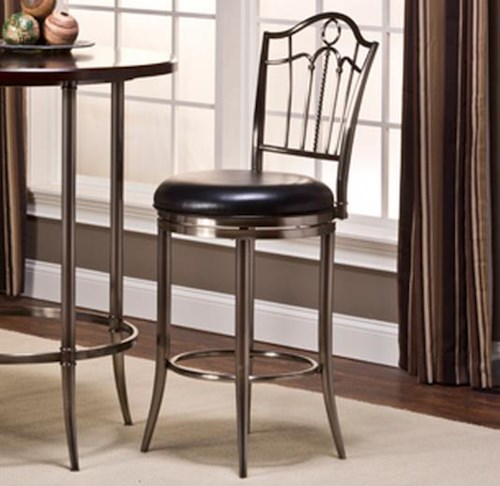 Hillsdale Maddox Portland Swivel Bar Stool with Upholstered Seat