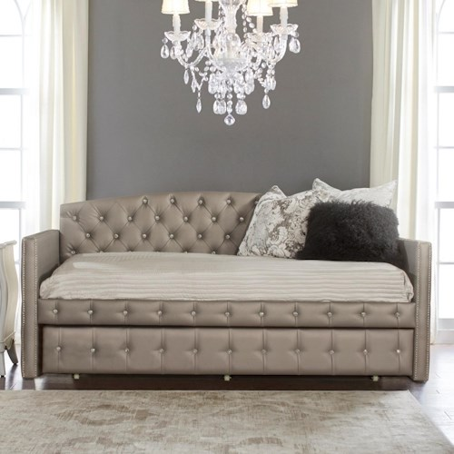 Hillsdale Memphis Bed Upholstered Daybed with Diamond Tufting