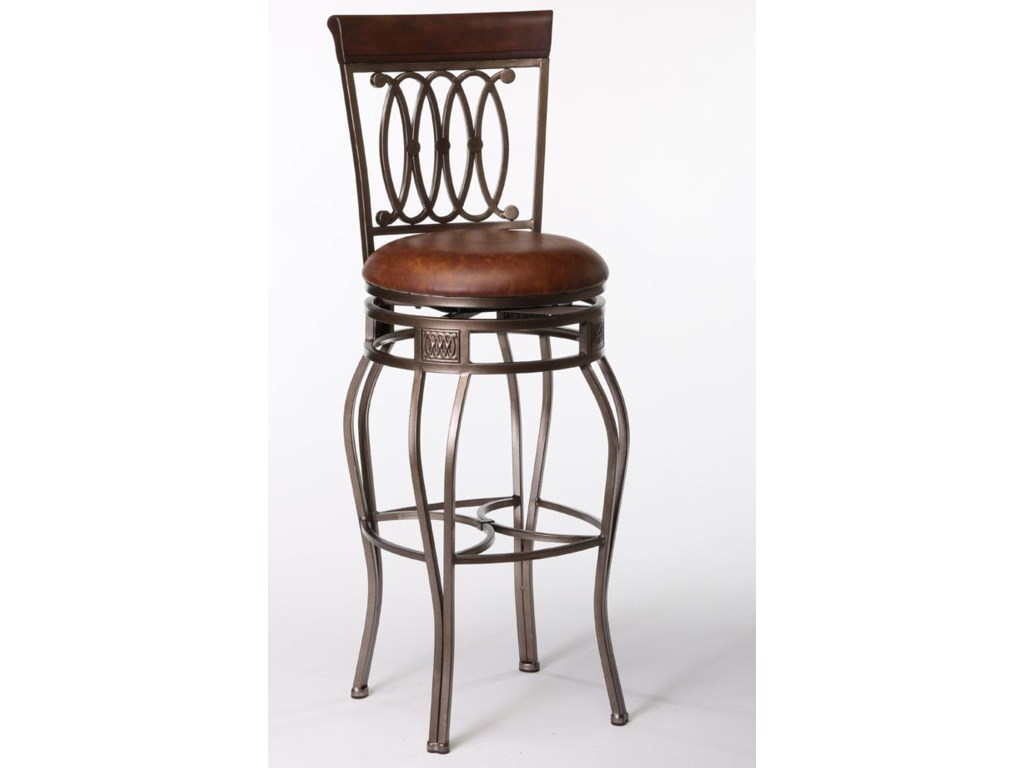 Montello 32 bar swivel stool w upholstered seat by hillsdale