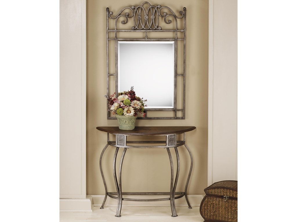 Hillsdale Montello Console Table With Metal Base And Wood Top Conlin S Furniture Sofa Tables Consoles