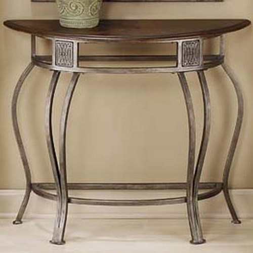 Hillsdale Montello Console Table with Metal Base and Wood Top