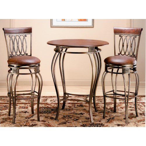 Hillsdale Montello 3 Piece Bar Height Bistro Set