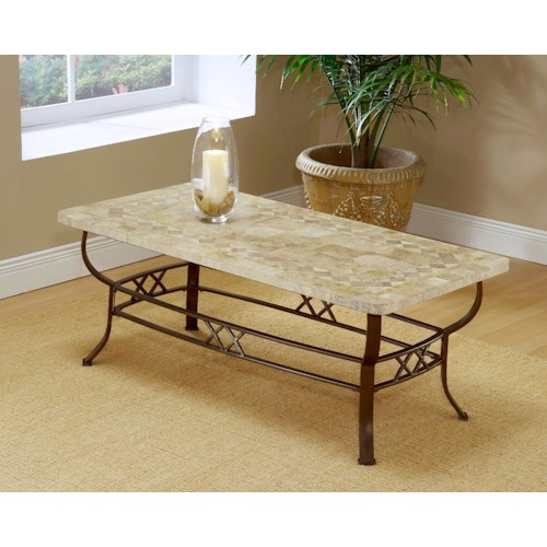 Hillsdale Occasional Tables Brookside Fossil Coffee Table with Splayed Legs