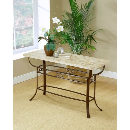 Hillsdale Occasional Tables Brookside Fossil Sofa Table with Splayed Legs
