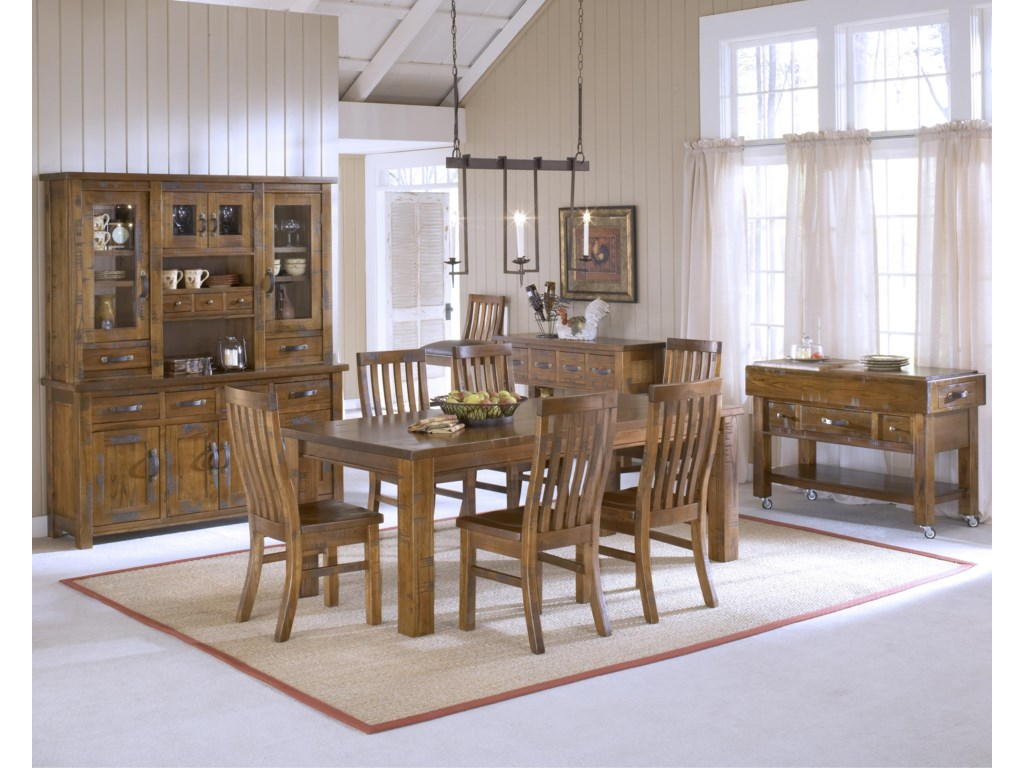 Shown in Room Setting with Hutch, Kitchen Island, Table and Chairs