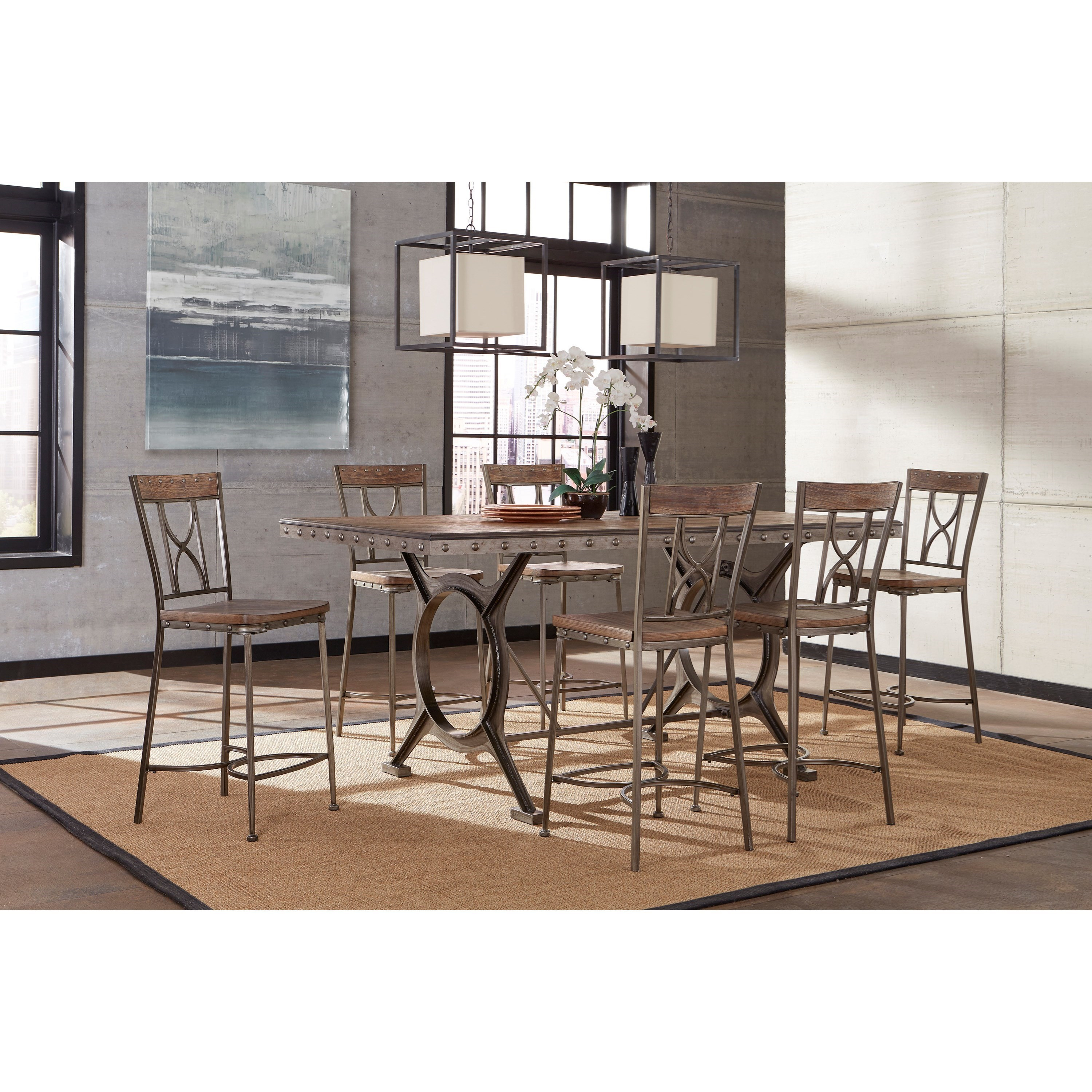 Hillsdale Paddock 7 Piece Brushed Steel Counter Height Dining Set With  Distressed Wood Finish