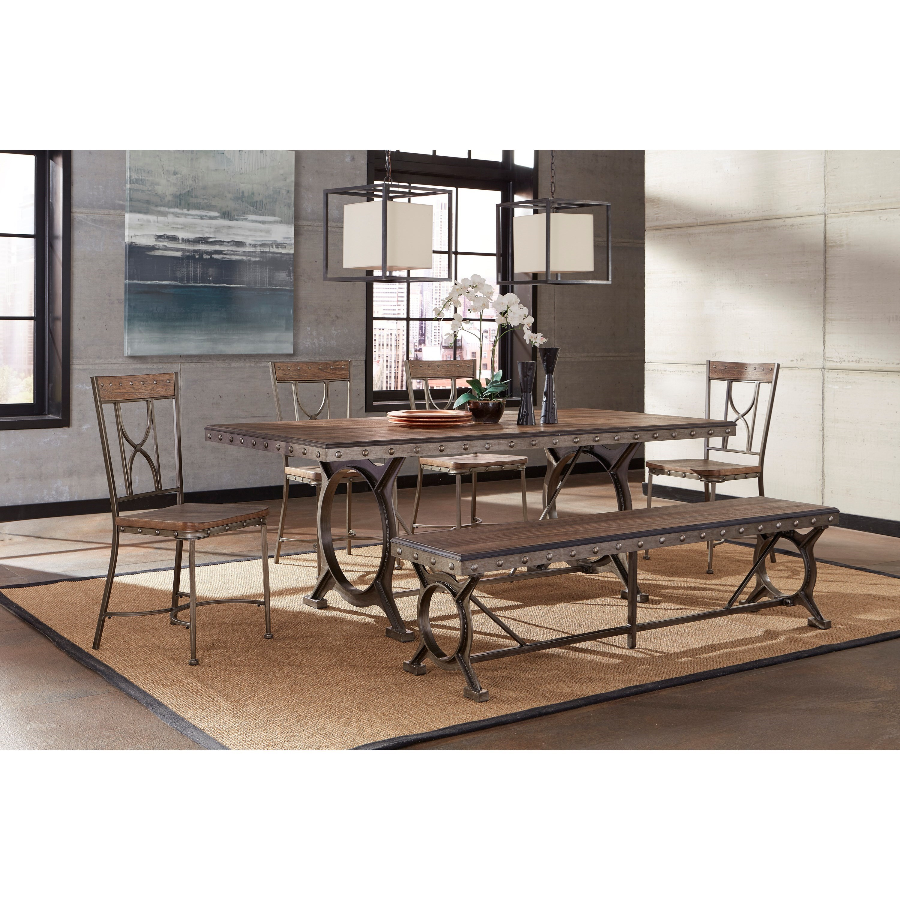 Hillsdale Paddock 6 Piece Brushed Metal Dining Set With Distressed Wood  Finish