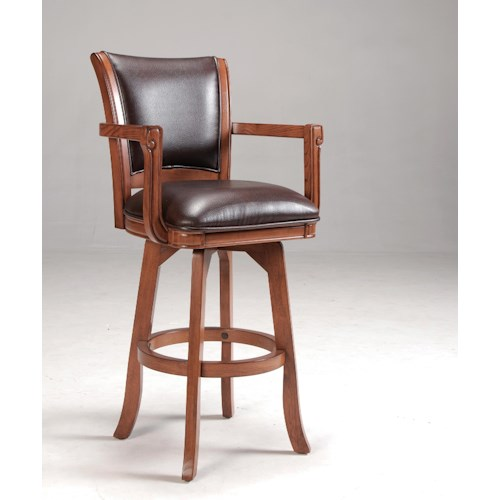 Hillsdale Park View Counter Stool with Arms & Leather Upholstered Seat
