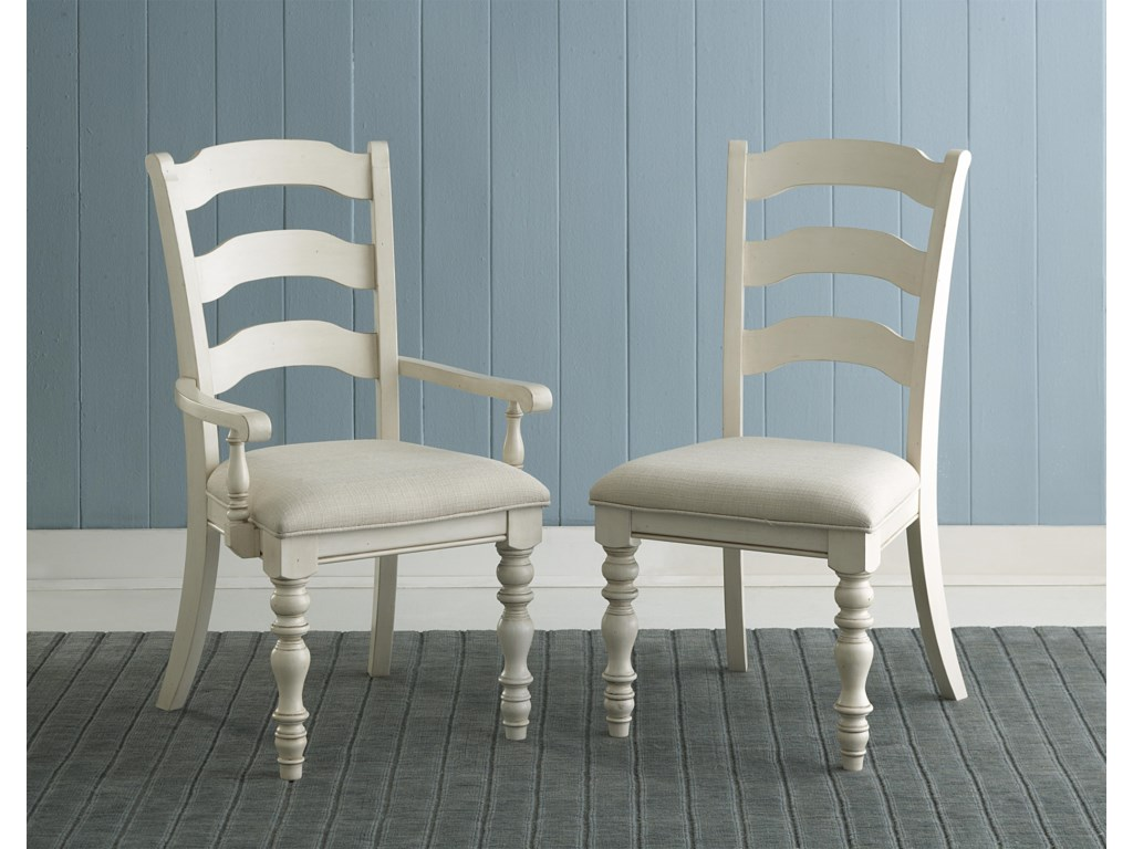 Pine Island Dining Ladder Back Side Chairs with Turned Legs ...