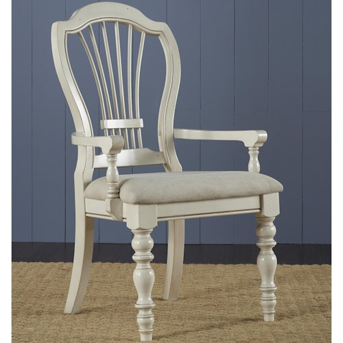 Hillsdale Pine Island Dining Arm Chair with Harp Back