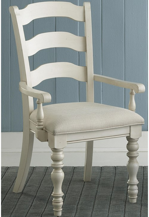 Hillsdale Pine Island Dining Ladder Back Arm Chairs with Turned Legs