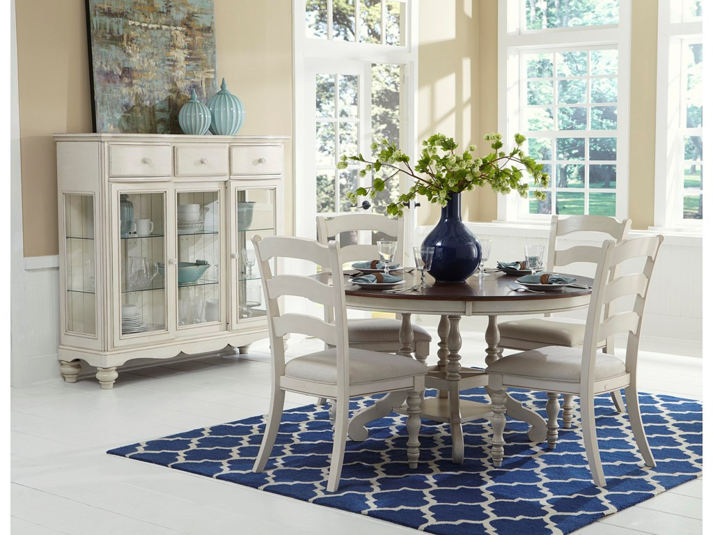 hillsdale pine island 5 piece round dining set with side chairs