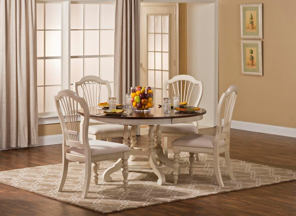 Hillsdale Pine Island 5265dtbcw Five Piece Round Dining Table Set