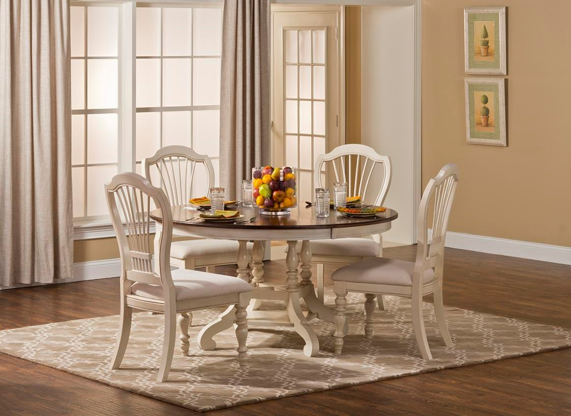 Hillsdale Pine Island Five Piece Round Dining Table Set With Turned Legs