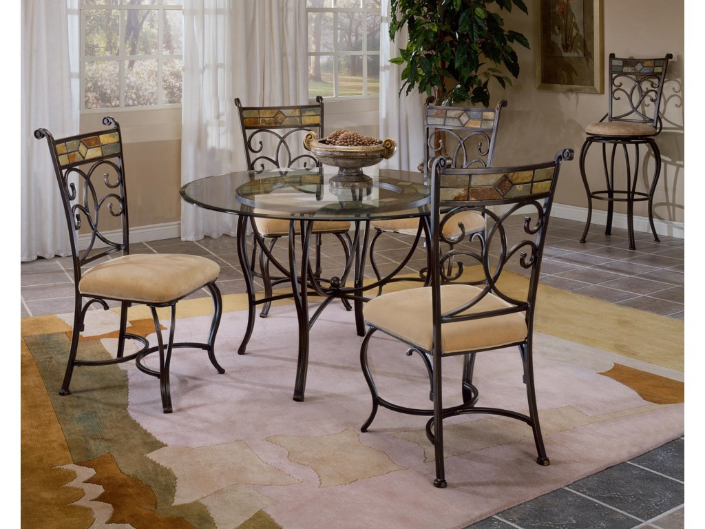 Shown with Slate Accented Dining Side Chairs and Bar Height Swivel Stool