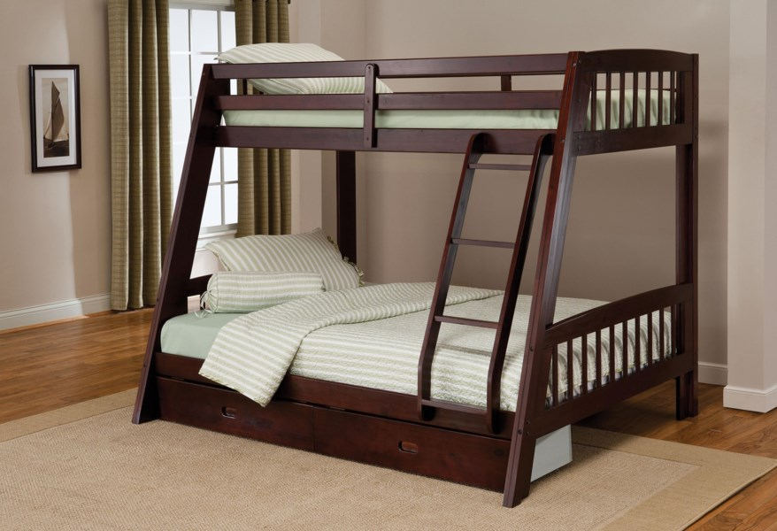 Hillsdale Rockdale Twin Over Full Bunk Bed With Storage Drawer Westrich Furniture Appliances Bunk Beds