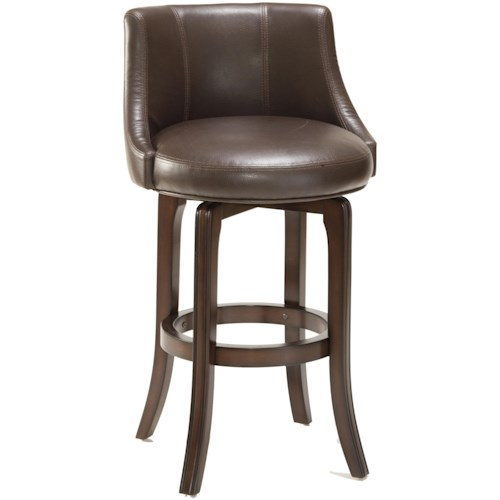 Hilale Napa Valley Stools Swivel Counter Stool With Brown Leather Upholstery
