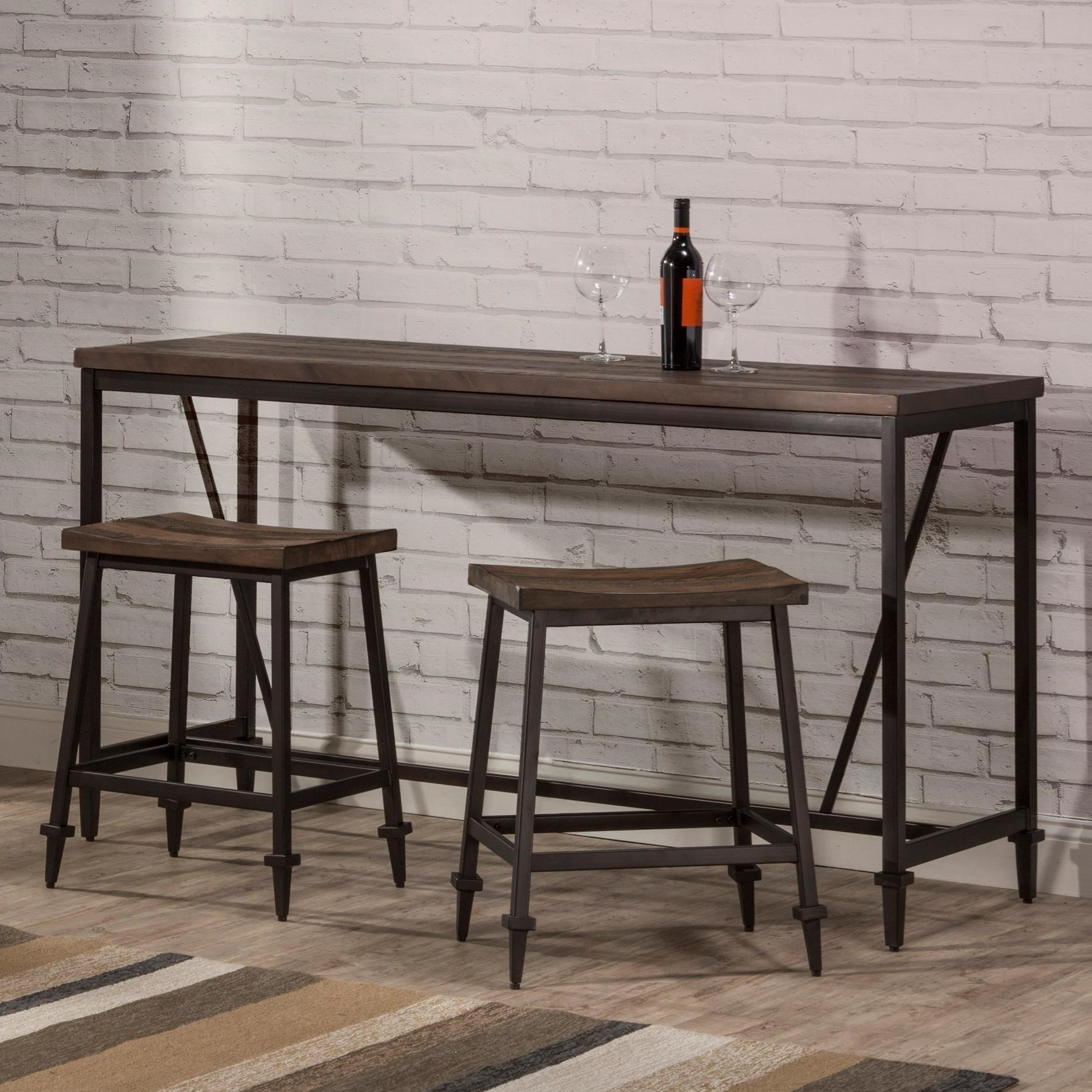 Picture of: Hillsdale Trevino 3 Piece Industrial Style Counter Height Bar Set Wayside Furniture Pub Table And Stool Sets
