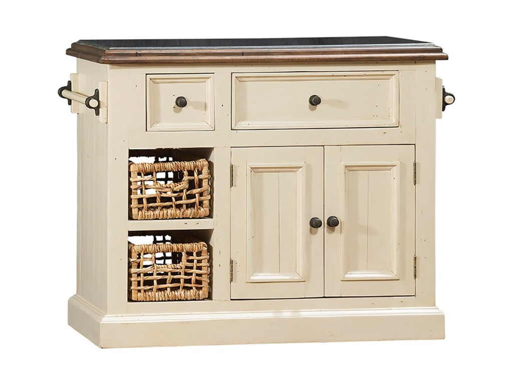 Tuscan Retreat White Small Granite Top Kitchen Island with Two ...