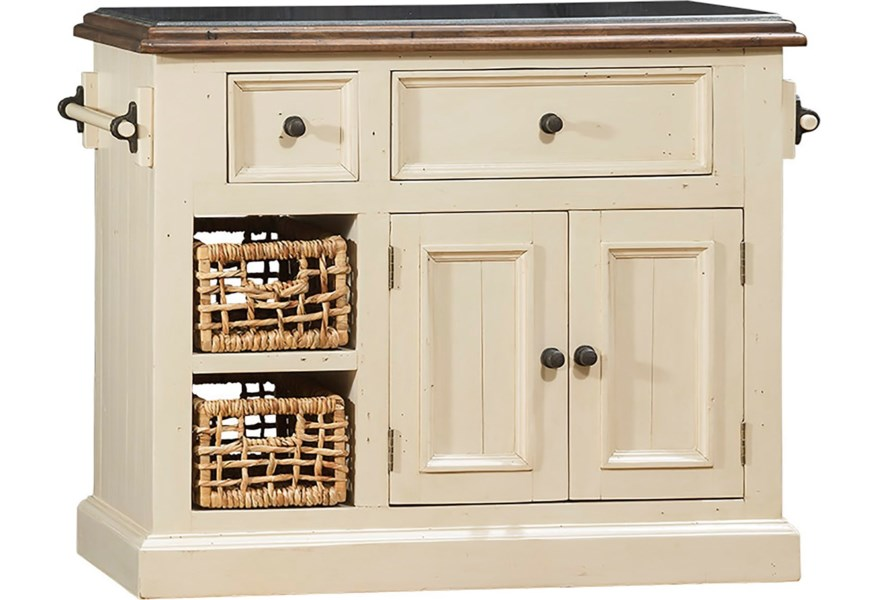 Hillsdale Tuscan Retreat White Small Granite Top Kitchen Island With Two Baskets Stoney Creek Furniture Kitchen Islands