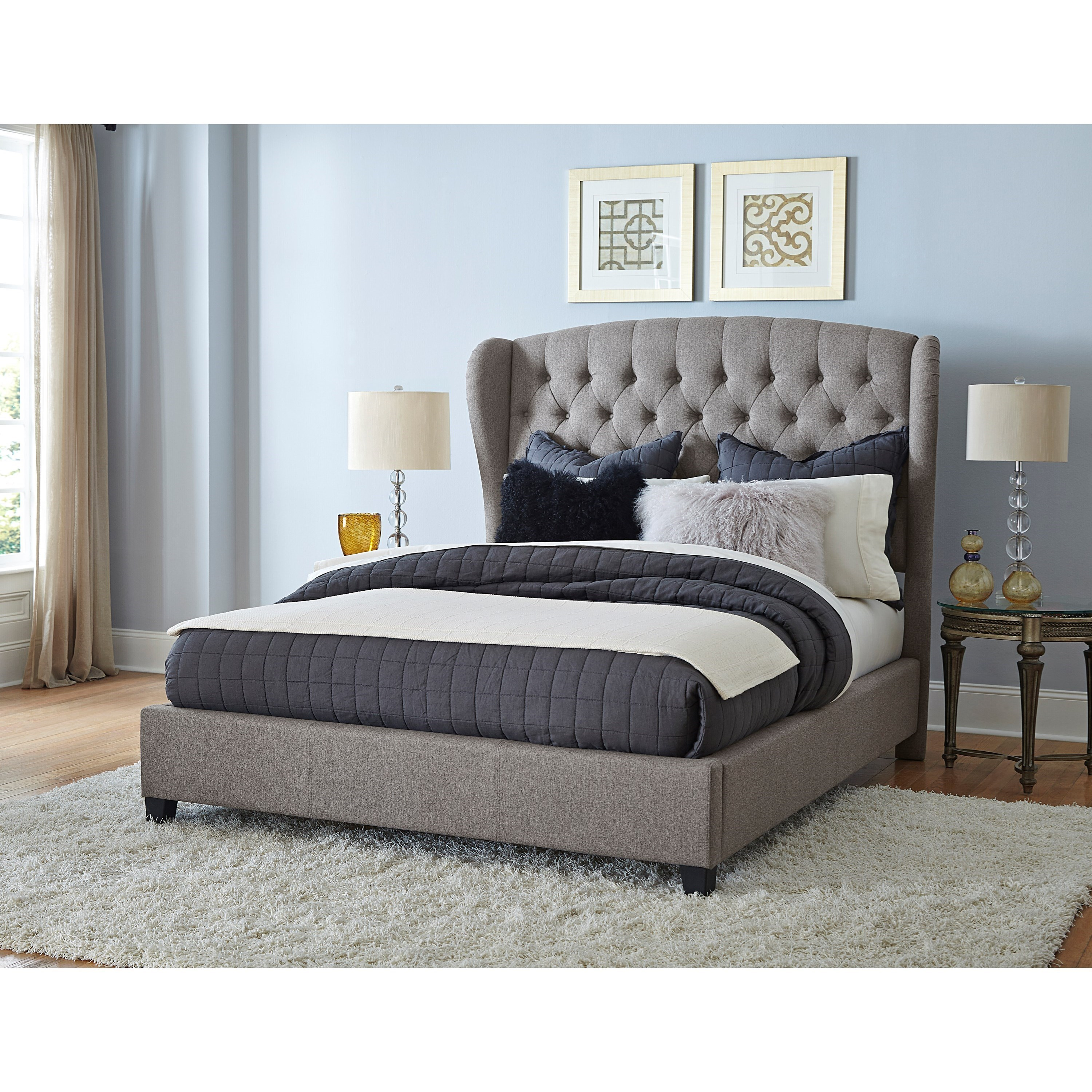 hillsdale upholstered beds upholstered queen bed set with wingback headboard