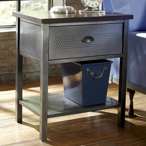hillsdale urban quarters contemporary metal nightstand | aladdin Metal Nightstand