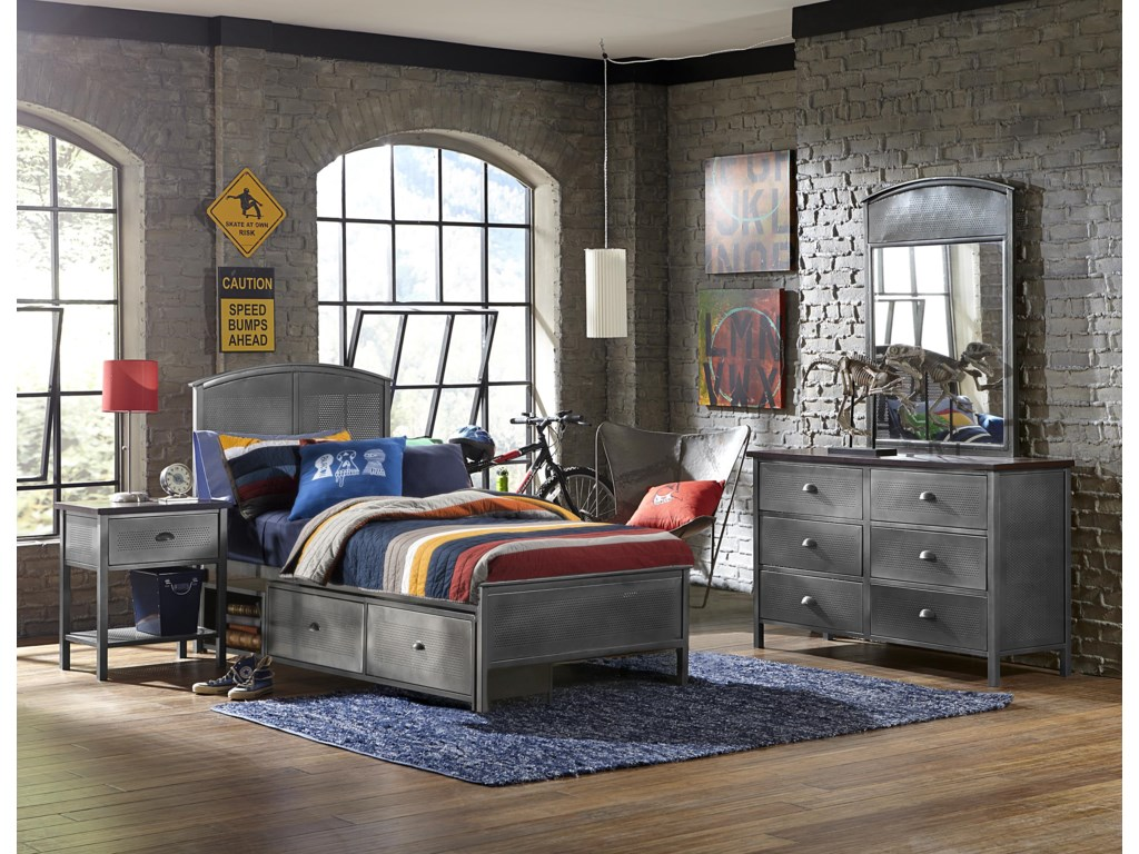 Hillsdale Urban QuartersFull Bed Set with Panel Storage Bed