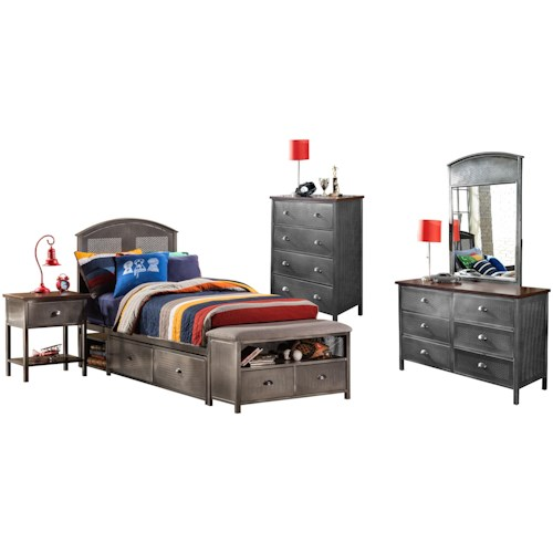 Hillsdale Urban Quarters Contemporary Five Piece Full Storage Bed Set with Footboard Bench