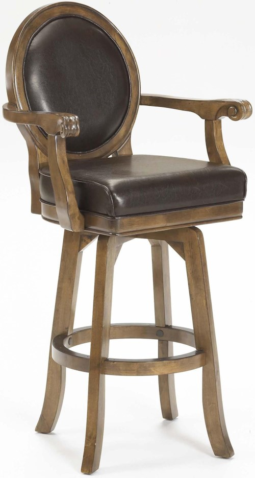 Hillsdale Warrington Rich Cherry Bar Stool with Supple Brown Leather Upholstery