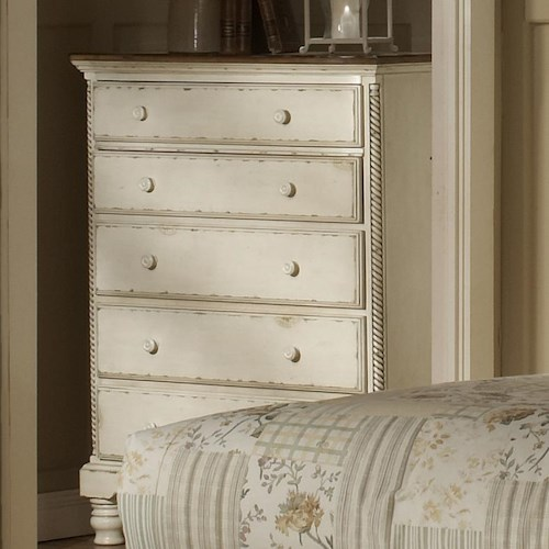 Hillsdale Wilshire Chest of Drawers w/ Brown Wood Top