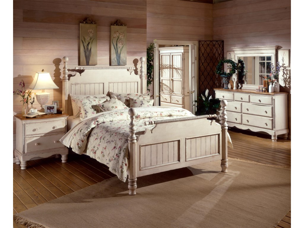 Shown in Room Setting with Nightstand, Poster Bed, Dresser and Mirror