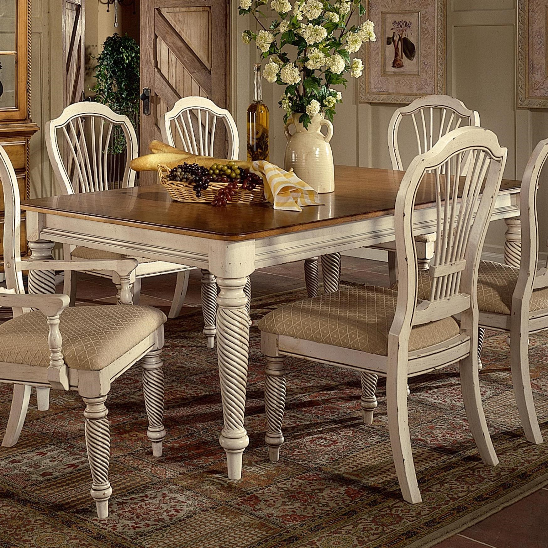 Superb Hillsdale Wilshire Rectangle Two Tone Double Leaf Dining Table Good Looking