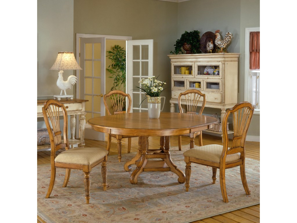 Shown with 5 Piece Round Dining Table Set (in Antique Pine Finish)