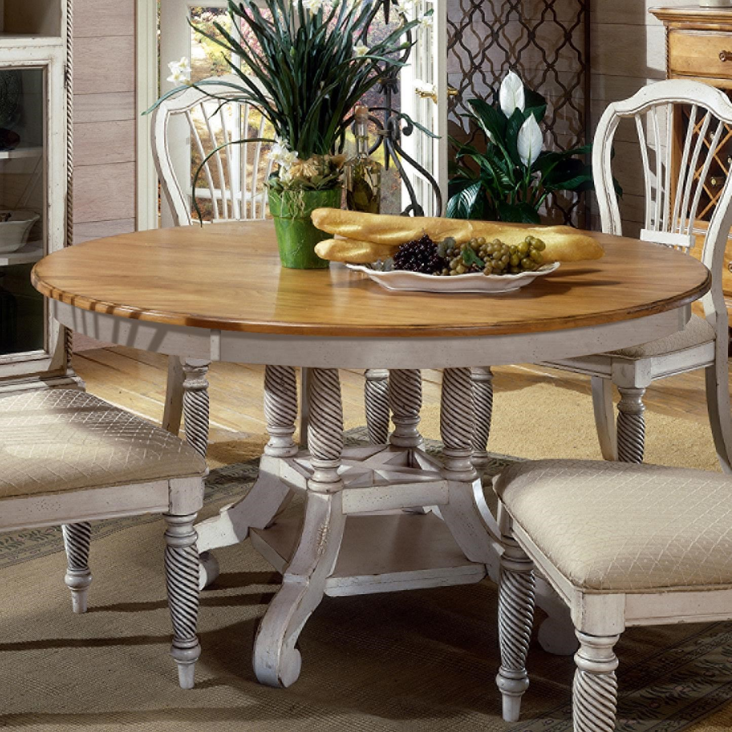 Superbe Hillsdale Wilshire Round Two Tone Leaf Dining Table