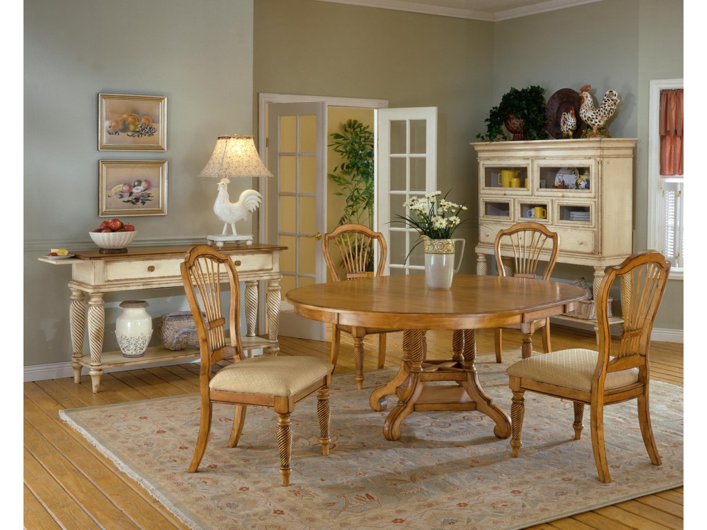Shown with 5 Piece Round Dining Table Set (in Antique Pine) and Tall Sideboard Cabinet