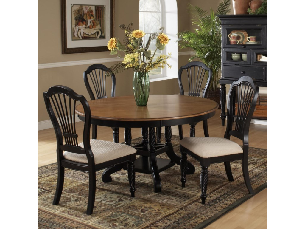 Show with Round Two-Tone Leaf Dining Table